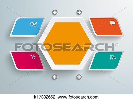 Clip Art of 4 Colored Bevel Rectangels Hexagon Infographic.