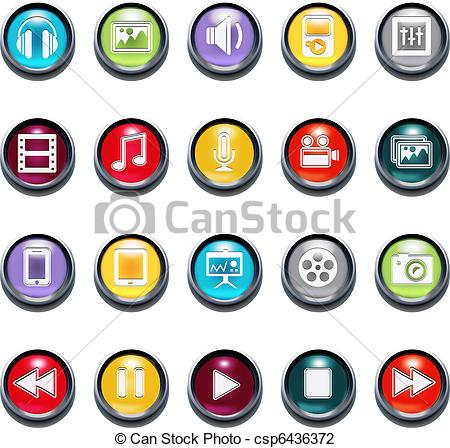 Vector Illustration of Vector 3d Multimedia Bevel Icons csp6436372.