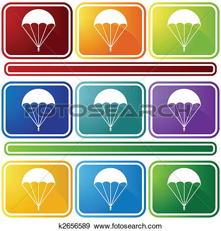 Clip Art of parachute icon bevel k2656589.