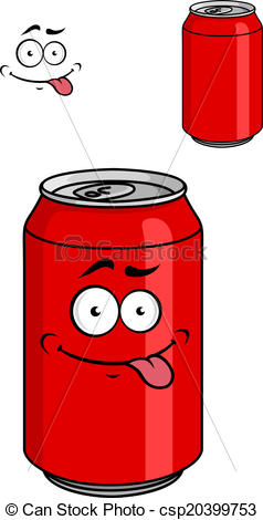 Clipart Vector of Red soda can with a goofy comical look sticking.