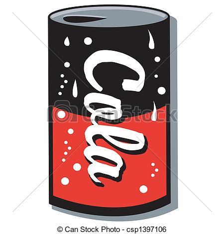 Clip Art Vector of Cola Can Soda Can Pop Can Clip Art.