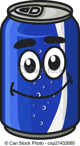 Vector of Blue cartoon soda or soft drink can cute character with.