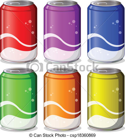 Clip Art Vector of Six colorful soda cans.