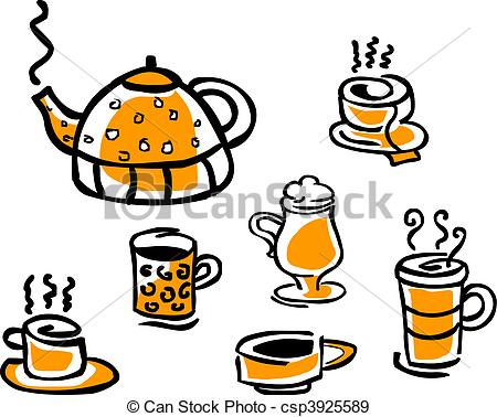 EPS Vectors of set of beverage cups and tea pot, vector.