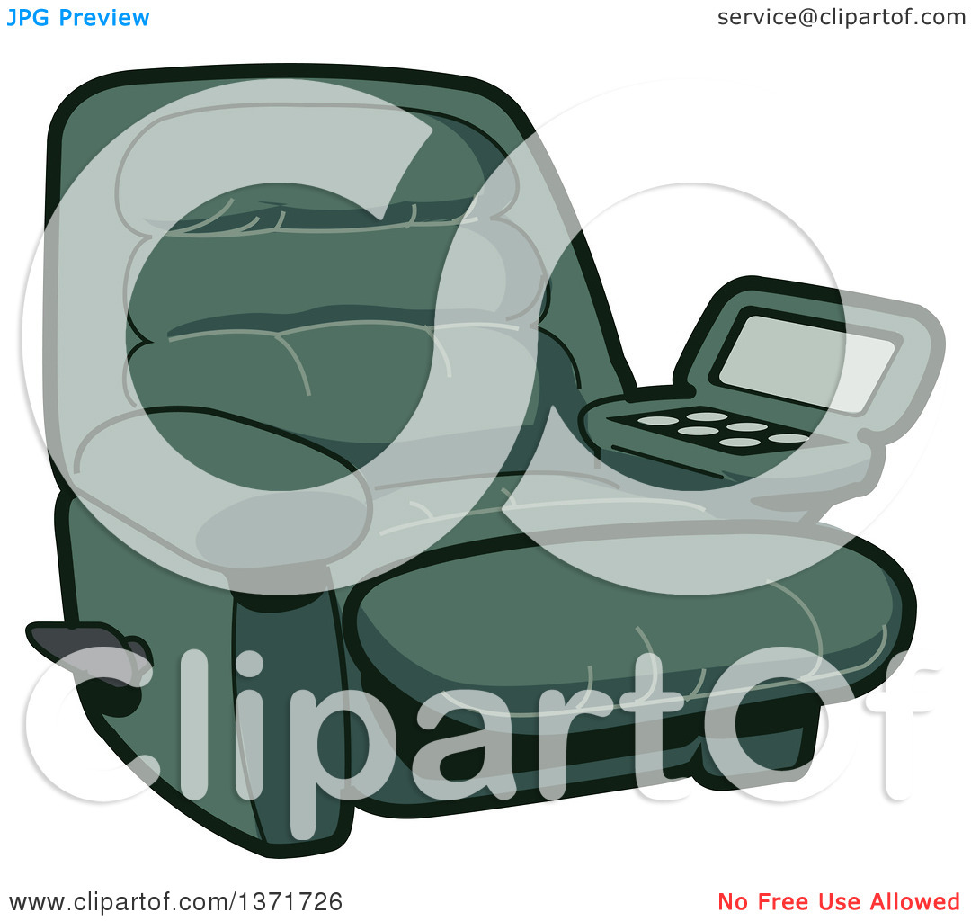 Clipart Of A Green Reclining Chair With A Built in Drink Holder.