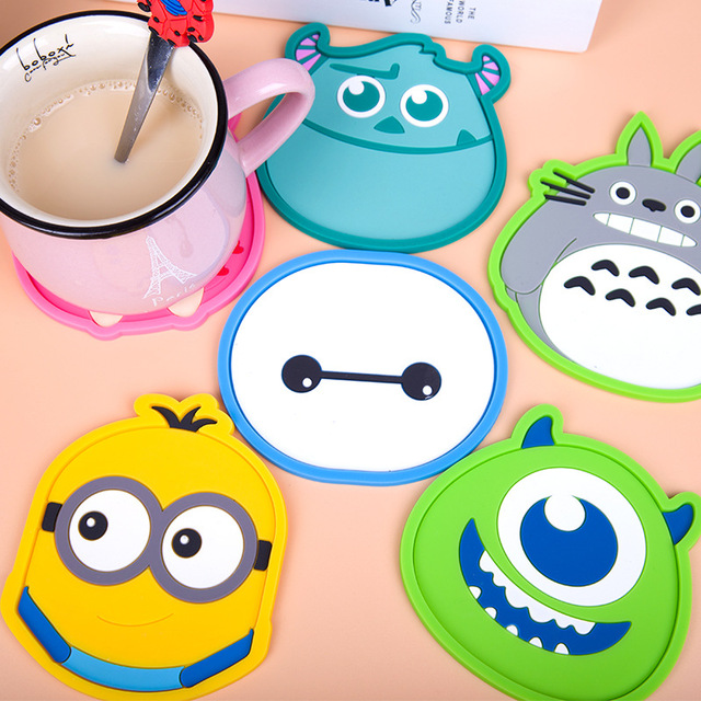 1pcs Cute Anime Silicone Coffee Placemat Cartoon Drink Coaster Cup.