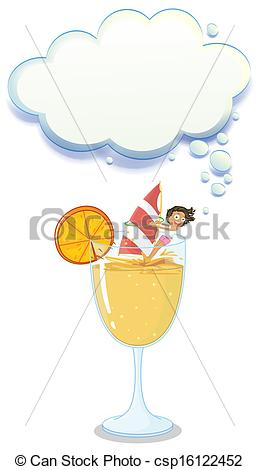 Clipart Vector of A young lady enjoying above the big glass with a.