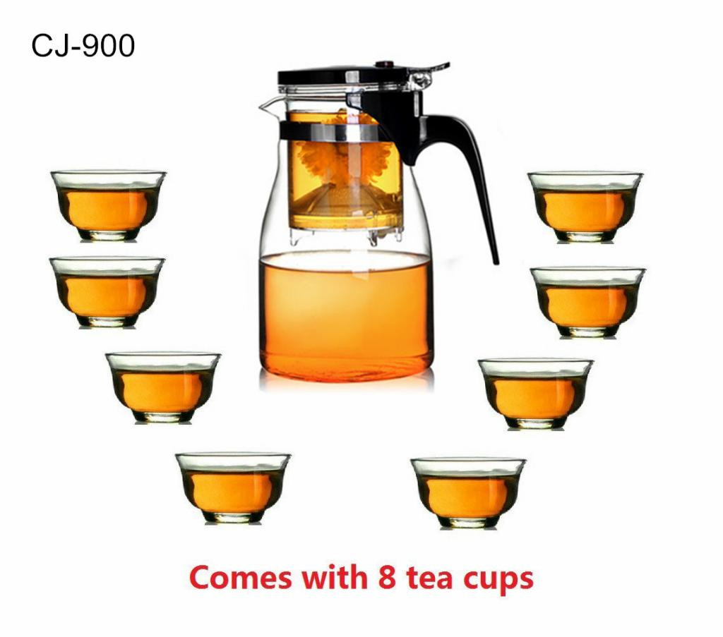 Kendal 27 oz glass filtering tea maker teapot with a warmer and 6.