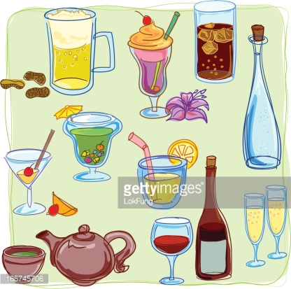 Drink Beverage Icons Vector Art.