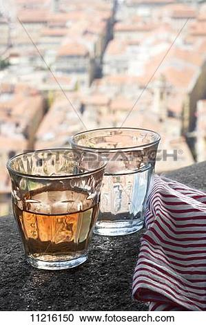 Stock Photography of A glass of wine and a glass of water on a.