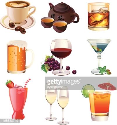 Drink Beverage Icons Vector Art.