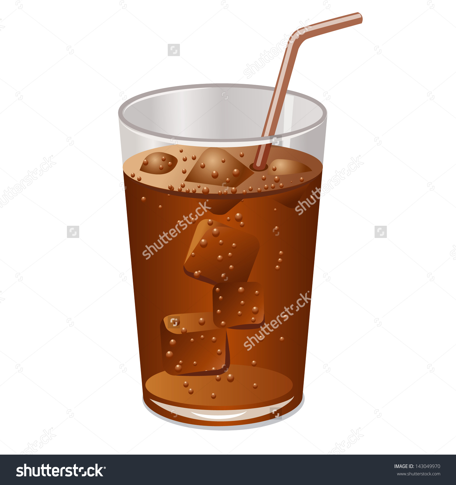 Glass Cold Drink Ice Stock Vector 143049970.