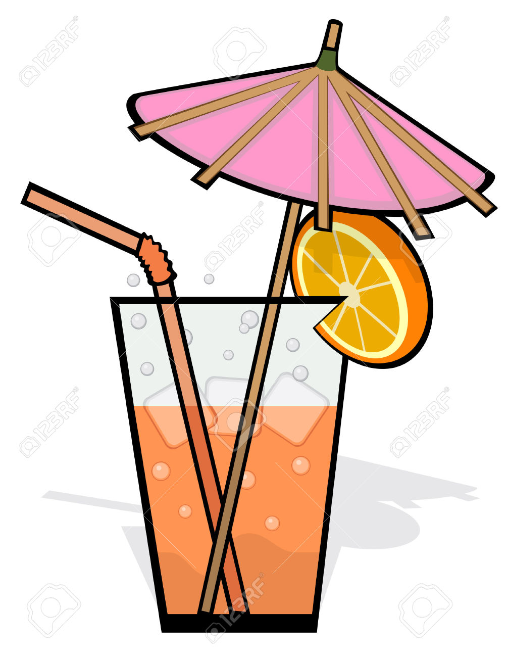 Drink Garnished With A Pink Umbrella, Straw And Orange Slice.