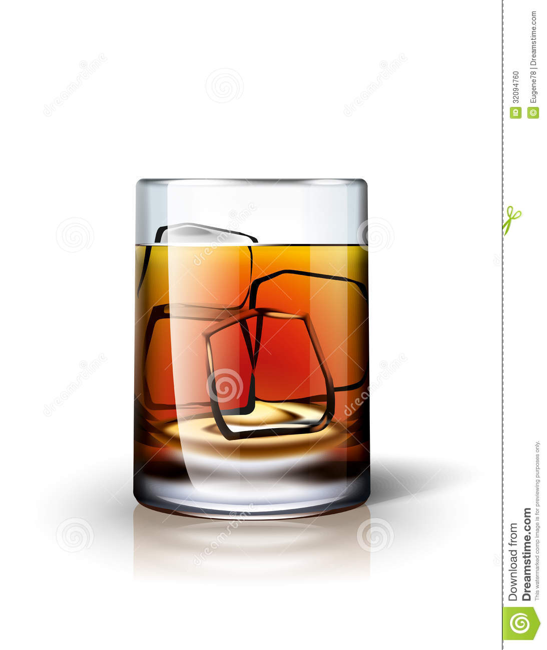 Alcoholic Drink With Ice Stock Photo.
