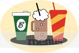 Three Beverages Clipart.