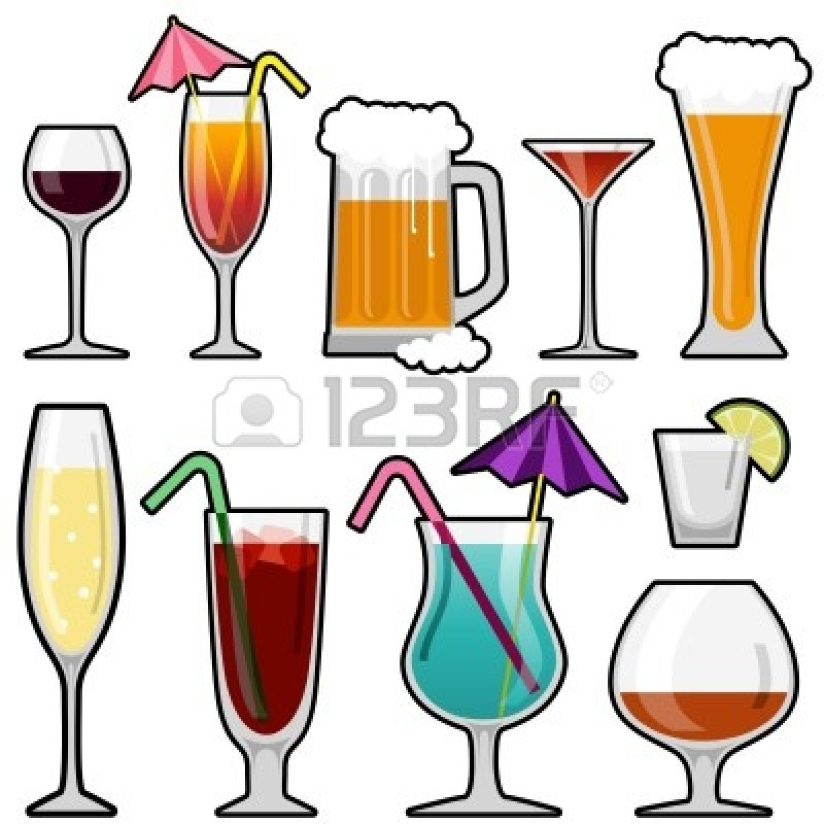 Alcoholic beverages clipart.