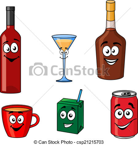 Clip Art Vector of Drinks and beverages icons isolated on white.