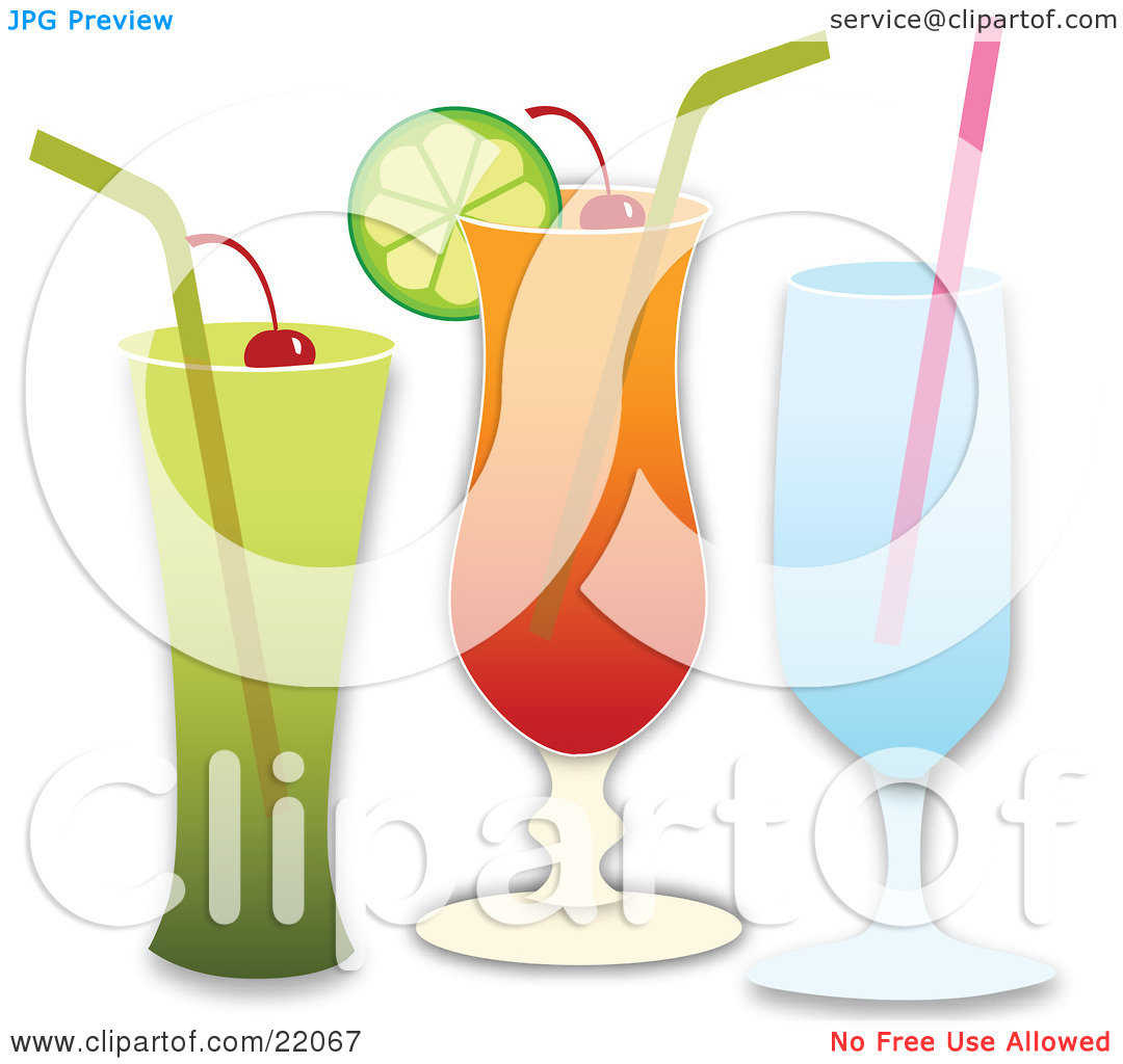 Clipart Illustration Picture of Three Different Cocktail Beverages.