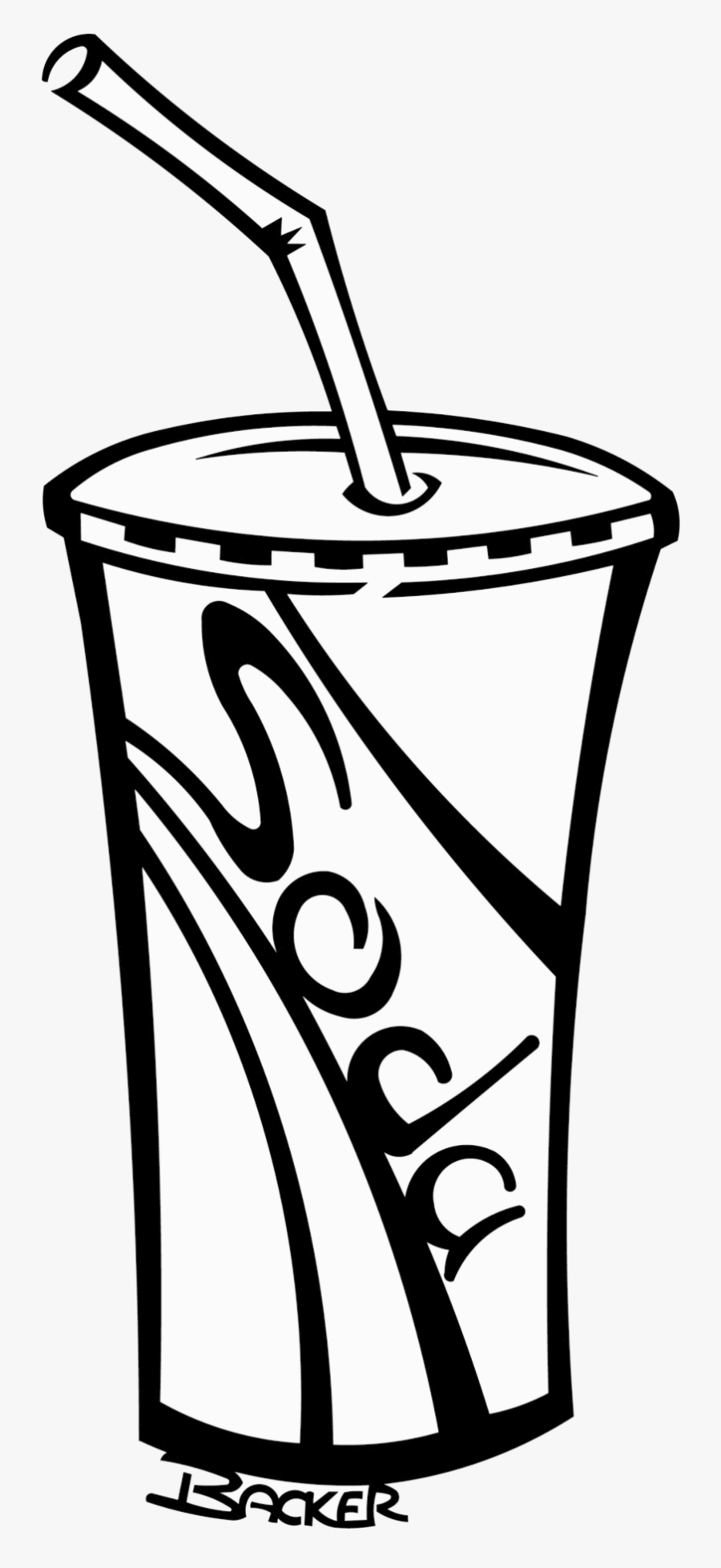 Soda Cup Soft Drinks Clipart Black And White Free.