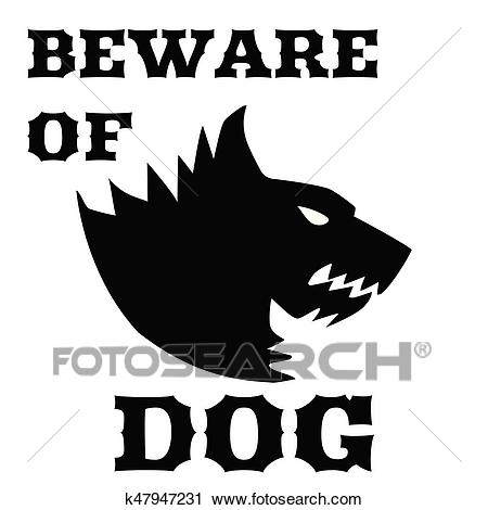 Beware of dog sign. Angry dog. Silhouette of a snarling dog. Vector flat  illustration. Direwolf Clipart.