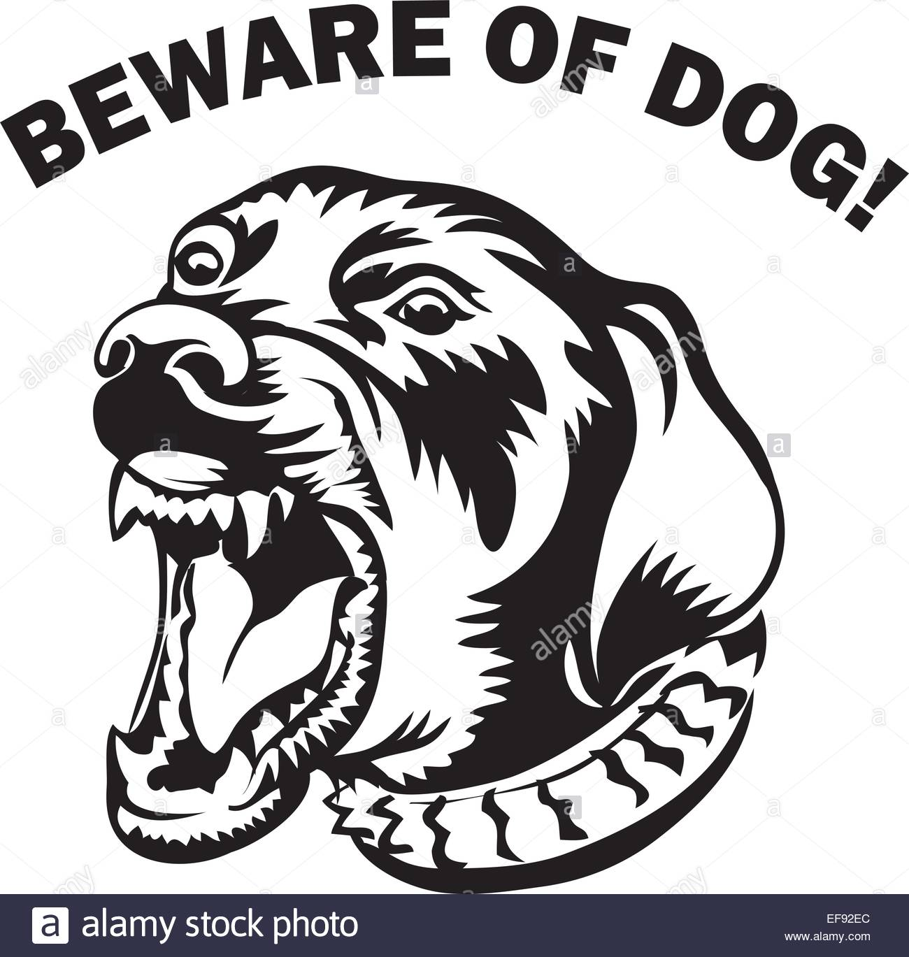 A dog's face that above reads Beware of Dog! Stock Vector Art.