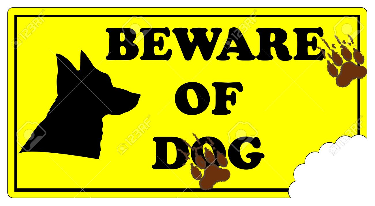Beware of Dog Sign with footprints and dog bite mark..