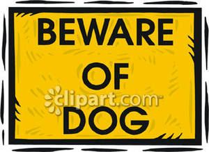 Beware of Dog Sign Royalty Free Clipart Picture.