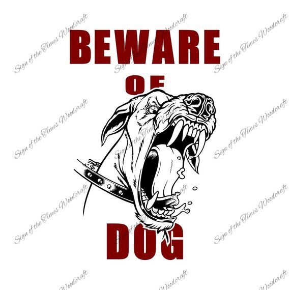 Beware Of Dog Vector Clipart design SVG PNG DXF.