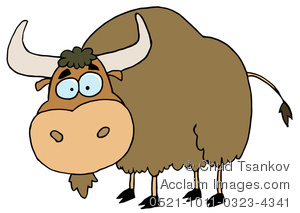 Clipart Image of A Brown Cartoon Yak Or Bull.