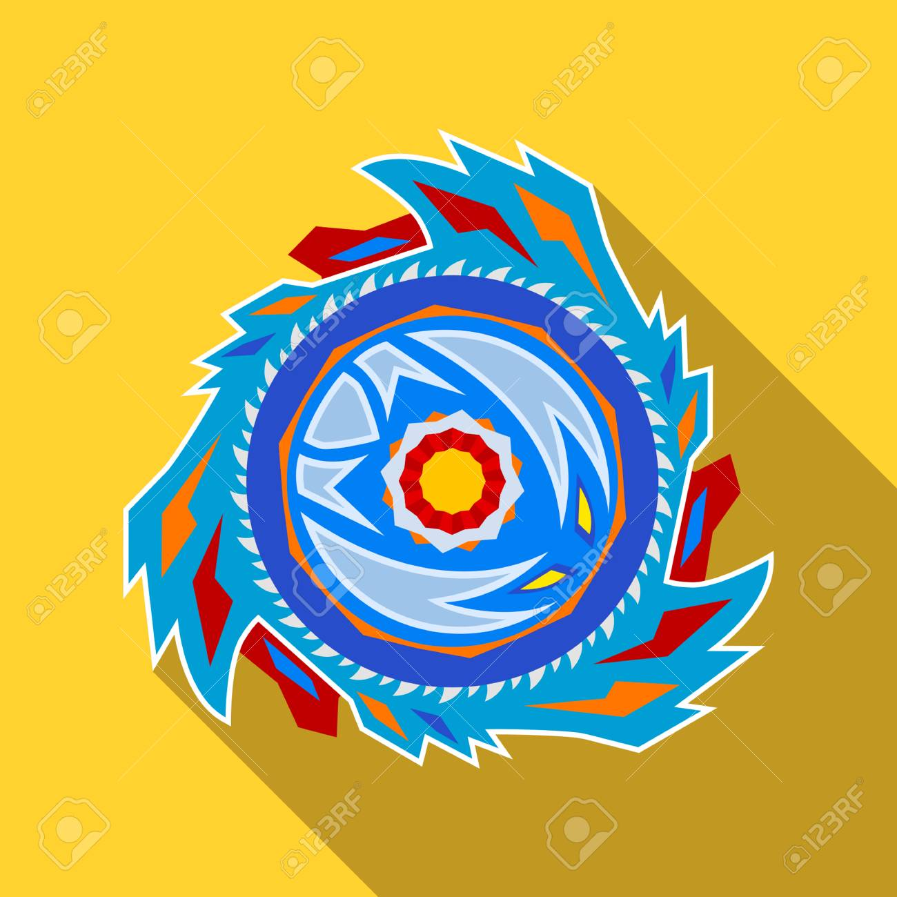 Collective image of a children's popular toy Beyblade. icon in...
