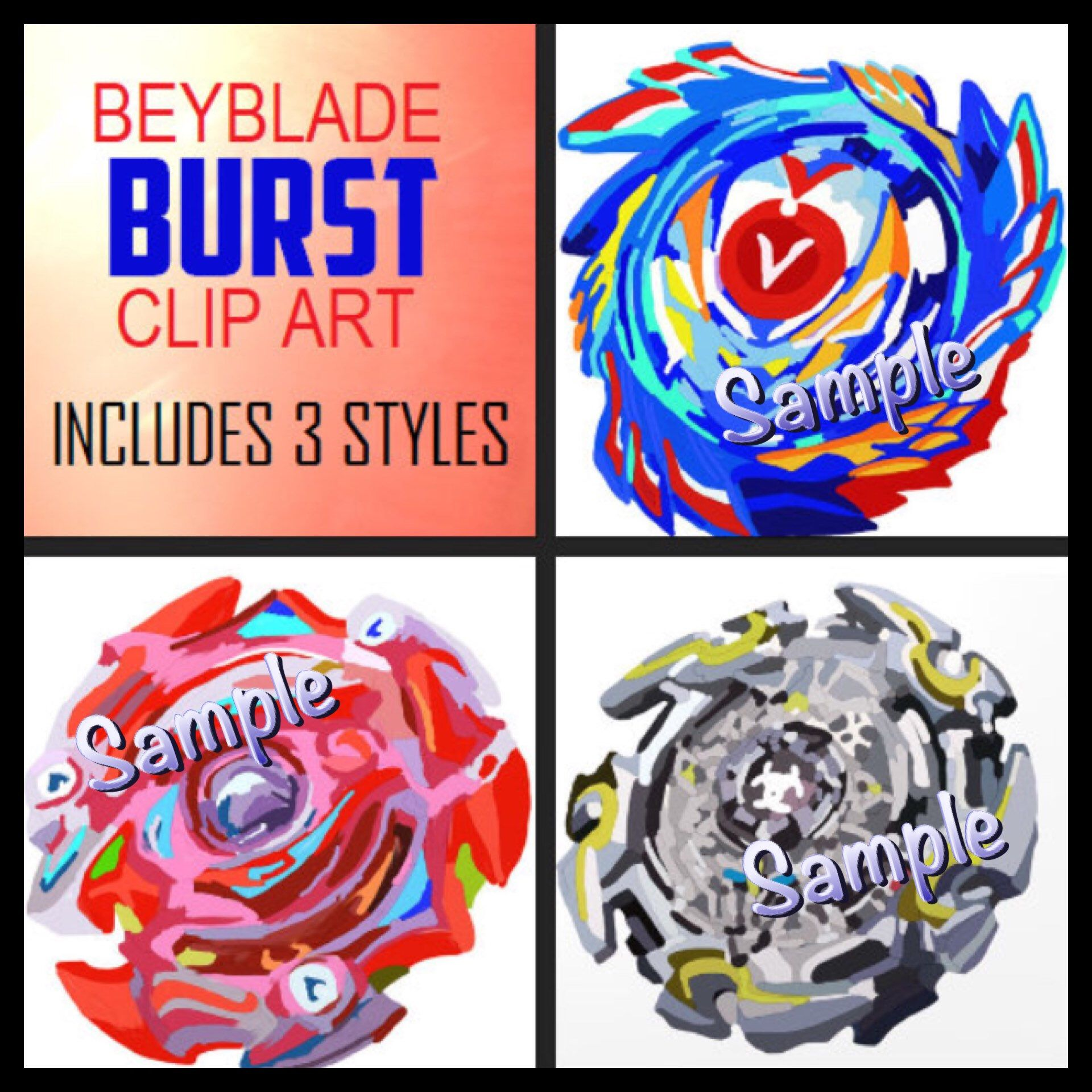 DIGITAL Clip Art Beyblade Burst Spinners PNG files Birthday Party.