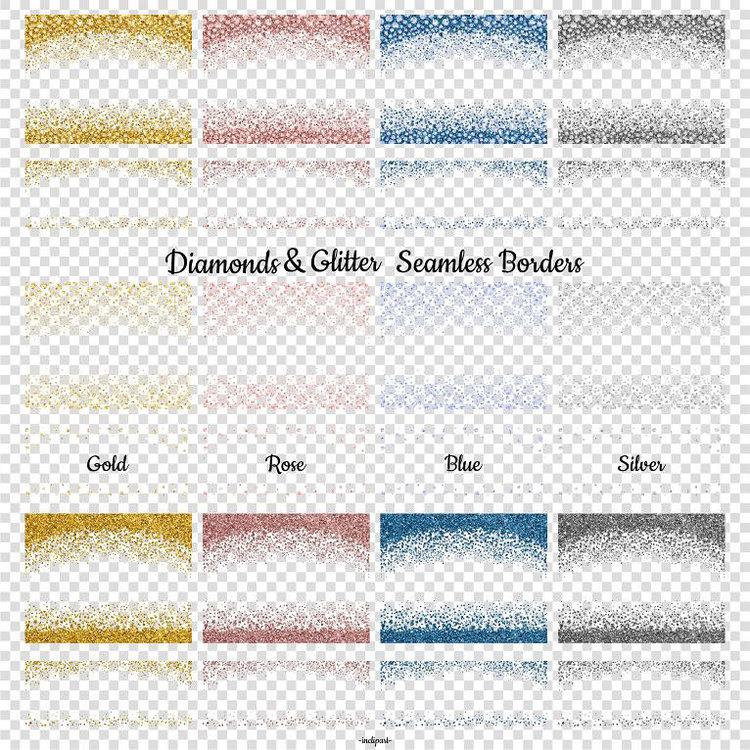 Diamond Clipart Seamless border diamond glitter clipart Gold Rose.