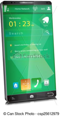 Vectors Illustration of Mobile phone with thin display bezel.