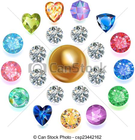 Clip Art Vector of Round shape top view bezel colored.