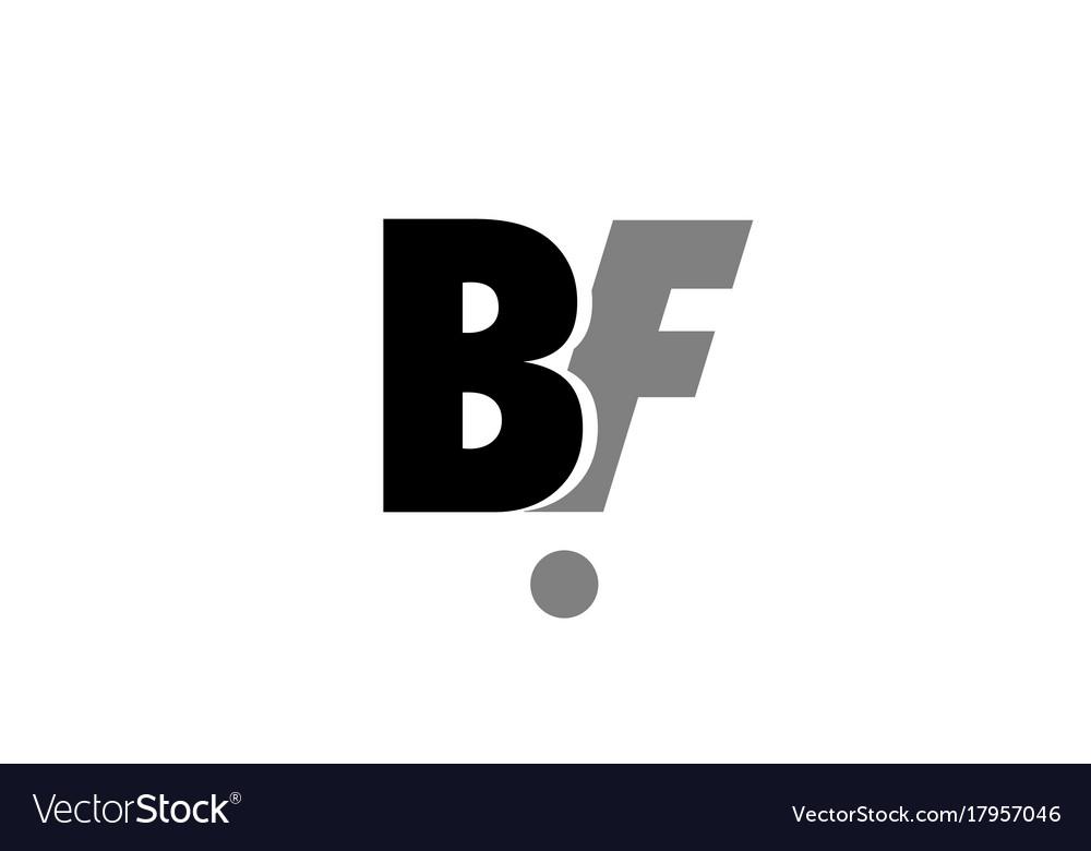 Bf b f black white grey alphabet letter logo icon.