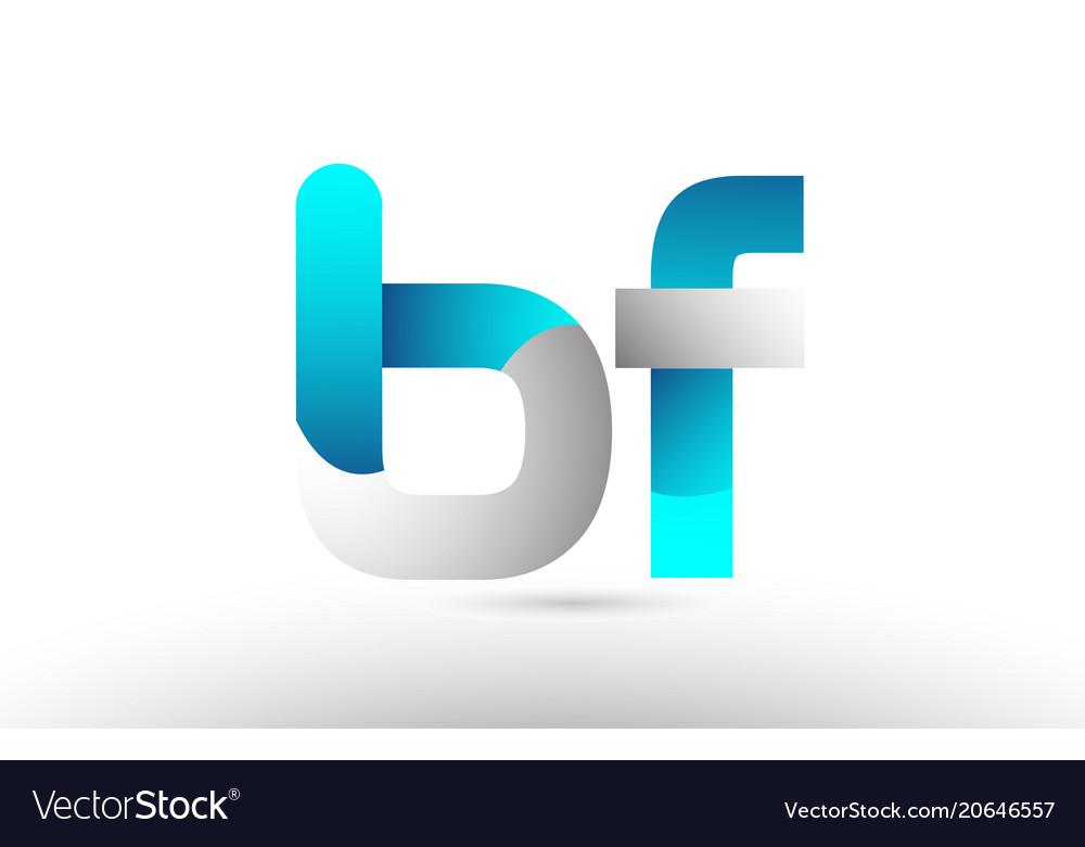 Grey blue alphabet letter bf b f logo 3d design.
