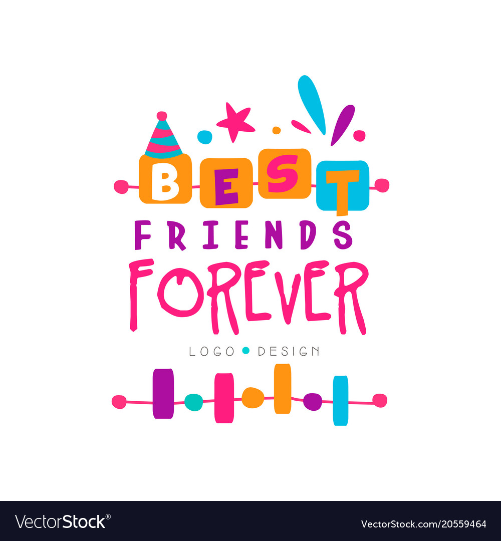 Best friend forever logo template with lettering.