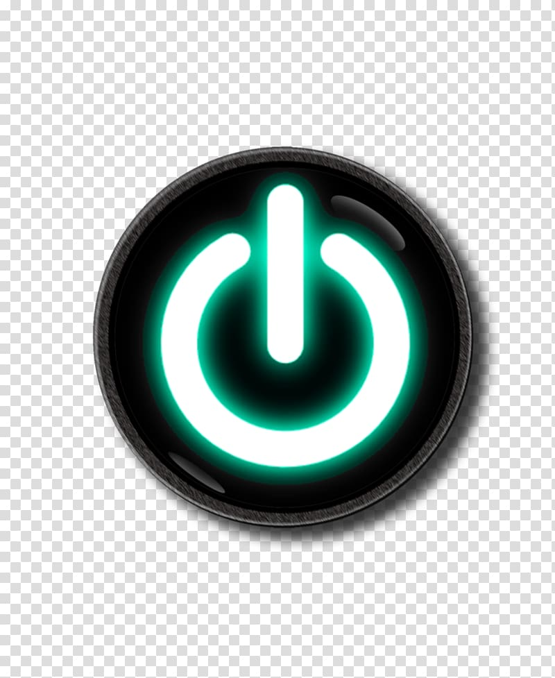 Round black and green power button illustration, Computer.