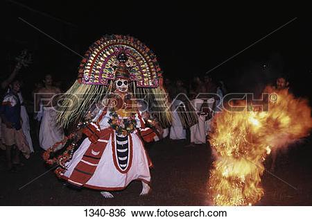 Stock Images of Man performing Mudiyettu the ritualistic dance in.