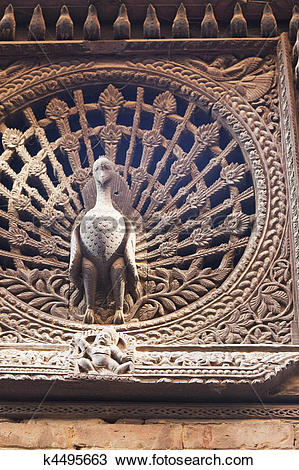 Stock Photo of Ancient Peacock Window, Bhaktapur, Nepal k4495663.