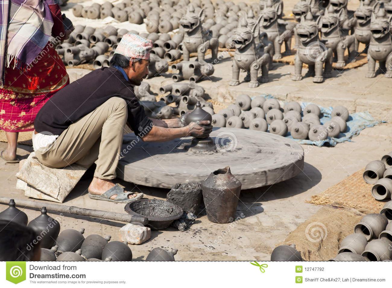 Pottery Making, Bhaktapur, Nepal Editorial Image.