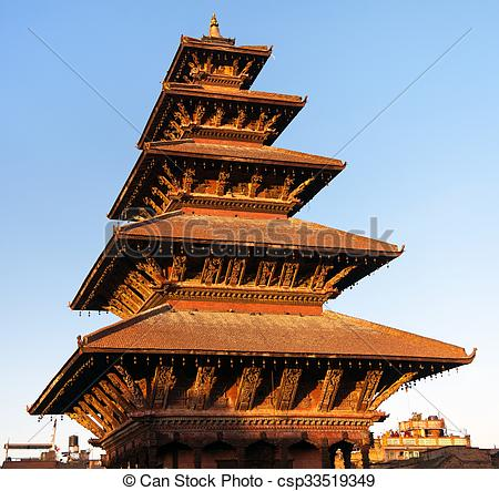 Stock Photo of Nyatapola Pagoda on Taumadhi Square in Bhaktapur.
