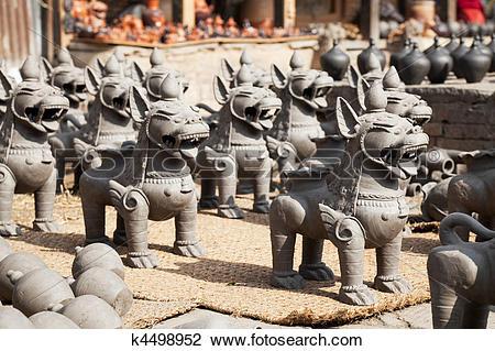 Stock Photo of Pottery Making, Bhaktapur, Nepal k4498952.