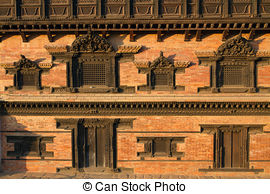Stock Photo of Windows, Bhaktapur, Nepal.