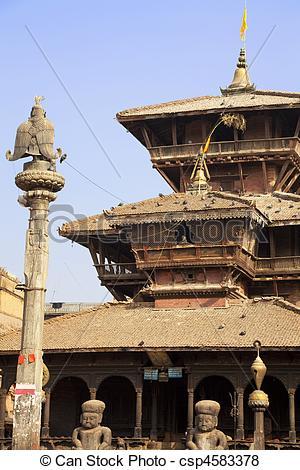 Pictures of Dattatreya Temple, Bhaktapur, Nepal.