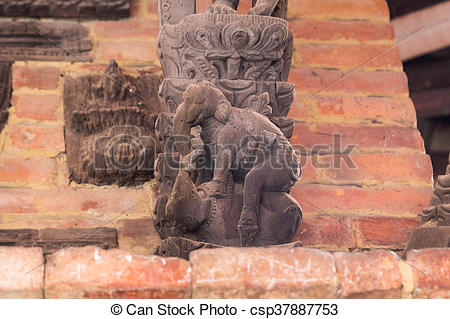 Stock Images of Erotic elephant carvings on temple in Bhaktapur.