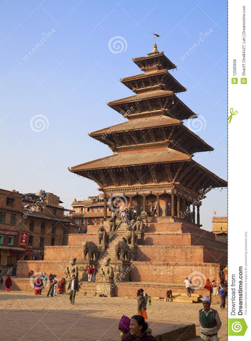 Nyatapola Temple, Bhaktapur Durbar Square, Nepal Editorial Stock.