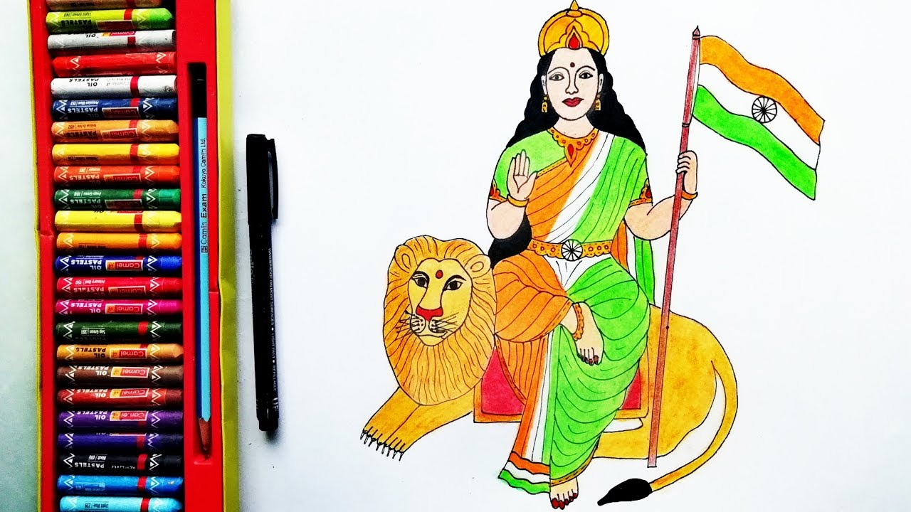How to draw Bharat Mata Step by Step For Kids.