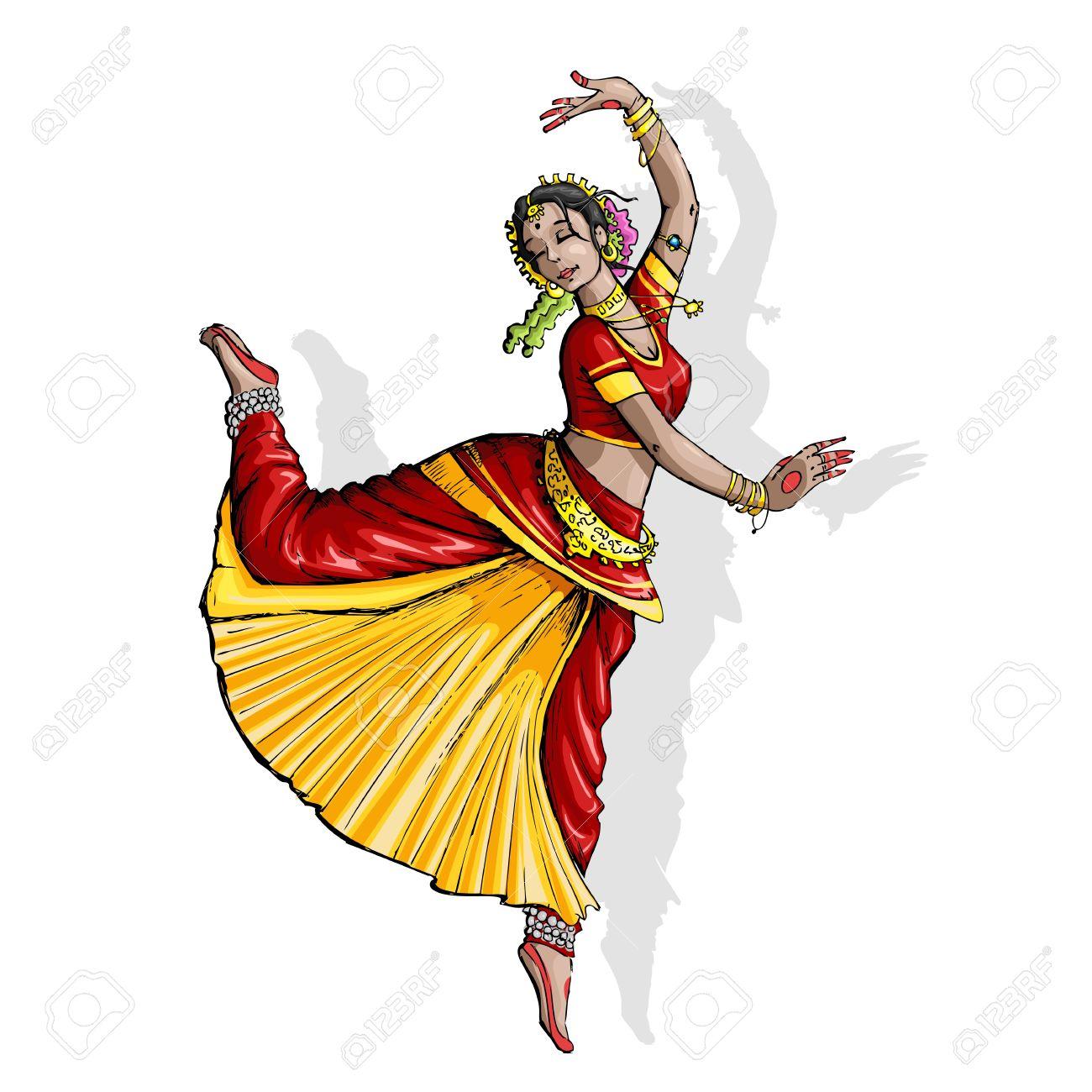 Indian Classical Dance Bharatanatyam Clipart.
