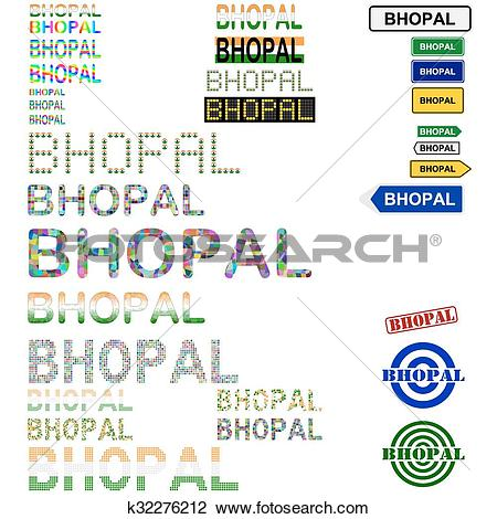 Clipart of Bhopal text design set k32276212.